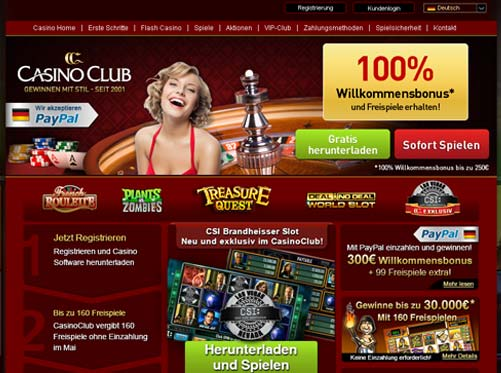 Casino Club Webseite
